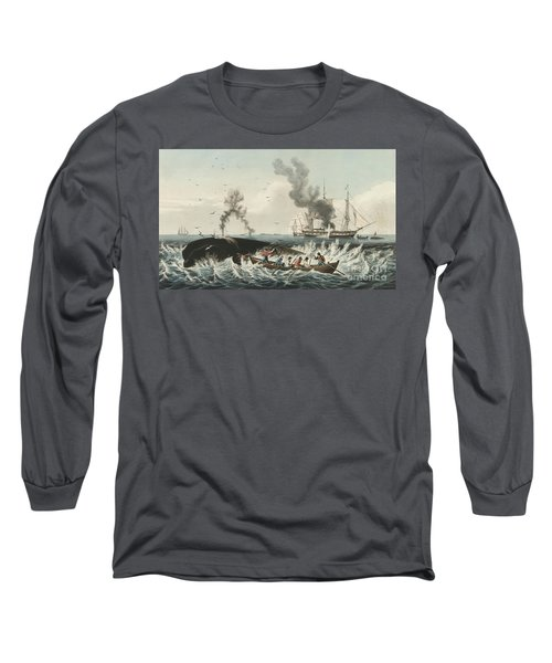 The Whale Fishery Attacking A Sperm Whale And Cutting In Long Sleeve T-Shirt