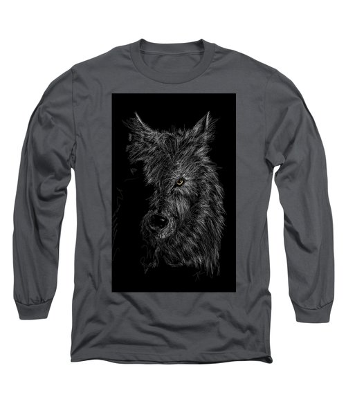 The Wolf In The Dark Long Sleeve T-Shirt by Darren Cannell
