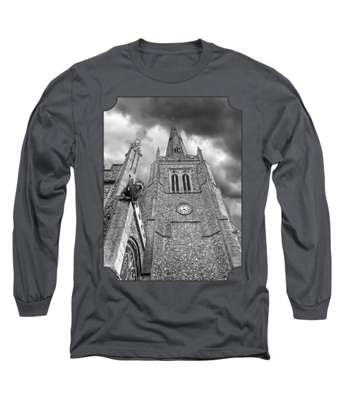 The Wrath Of God - Thaxted Church In Black And White Long Sleeve T-Shirt