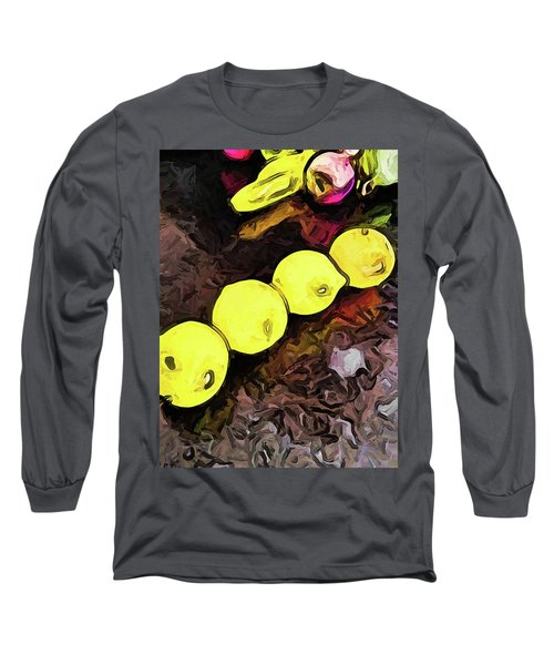 The Yellow Lemons In A Row And The Pink Apple Long Sleeve T-Shirt