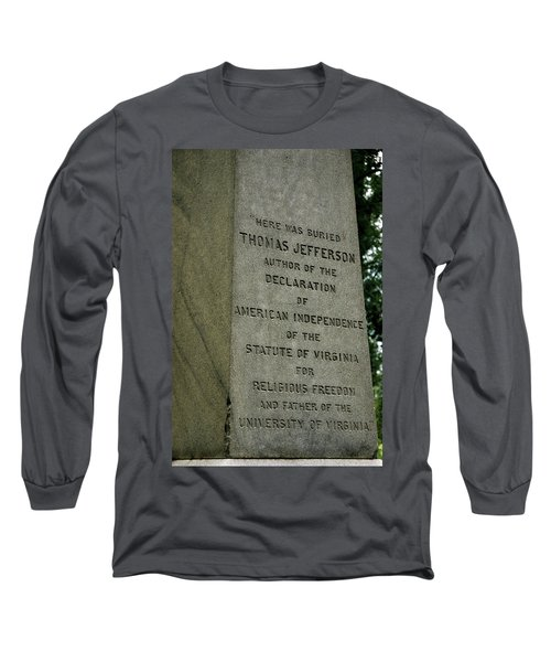 Thomas Jefferson Tombstone Close Up Long Sleeve T-Shirt