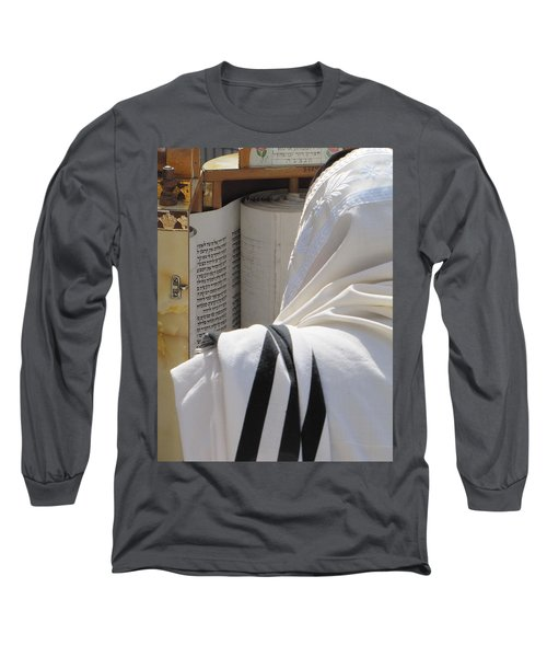 Long Sleeve T-Shirt featuring the photograph Thora Reading At The Western Wall by Yoel Koskas