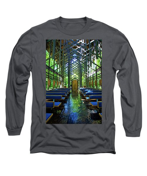 Long Sleeve T-Shirt featuring the photograph Thorncrown Chapel Serenity by Cricket Hackmann