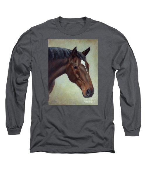 Thoroughbred Horse, Brown Bay Head Portrait Long Sleeve T-Shirt