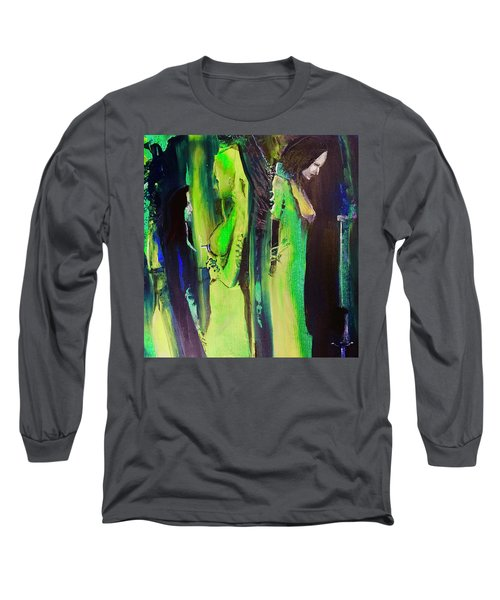 Long Sleeve T-Shirt featuring the painting Thoughtful Gathering by Kicking Bear Productions