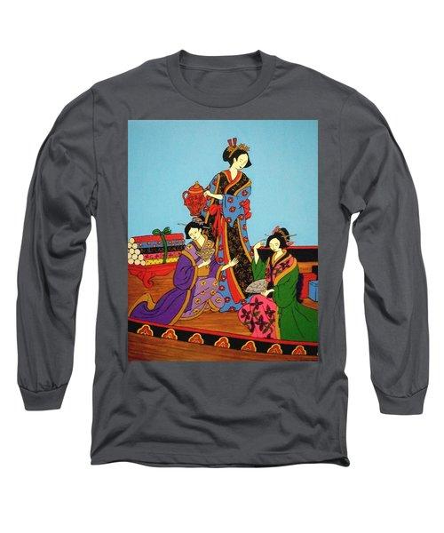 Three Geishas Long Sleeve T-Shirt by Stephanie Moore