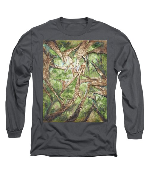 Long Sleeve T-Shirt featuring the mixed media Through Lacy Branches by Angela Stout