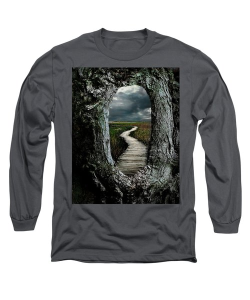 Through The Knot Hole Long Sleeve T-Shirt by Rick Mosher