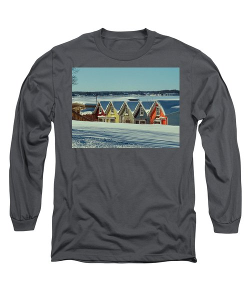 Winter View Ti Park Boathouses Long Sleeve T-Shirt