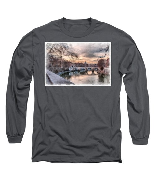 Tiber - Aquarelle Long Sleeve T-Shirt by Sergey Simanovsky