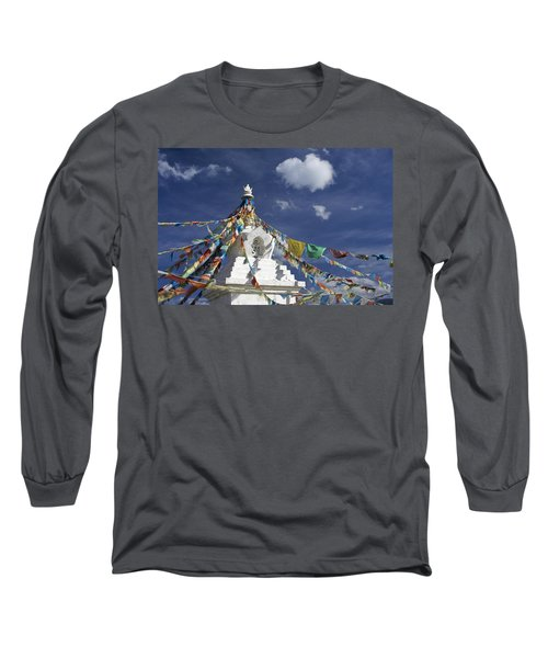 Tibetan Stupa With Prayer Flags Long Sleeve T-Shirt