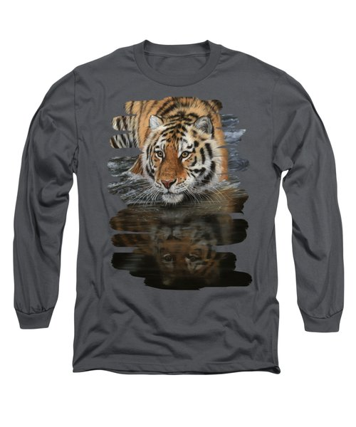Tiger In Water Long Sleeve T-Shirt