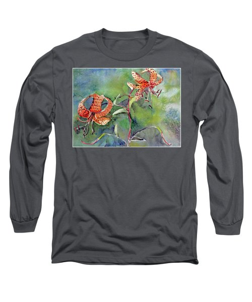Long Sleeve T-Shirt featuring the painting Tiger Lilies by Mindy Newman