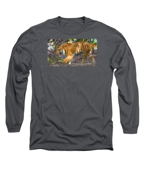 Long Sleeve T-Shirt featuring the painting Tiger On The Prowl by Judy Kay