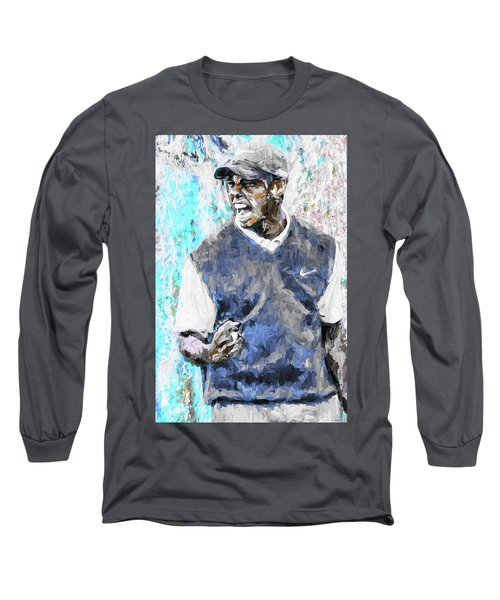 Tiger Woods One Blue Golfer Digital Art Long Sleeve T-Shirt