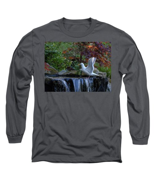 Time For A Bird Bath Long Sleeve T-Shirt by Keith Boone