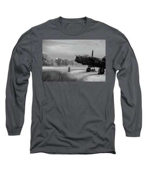 Long Sleeve T-Shirt featuring the photograph Time To Go - Lancasters On Dispersal Bw Version by Gary Eason