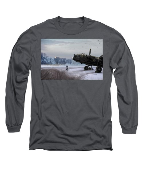 Time To Go - Lancasters On Dispersal Long Sleeve T-Shirt by Gary Eason