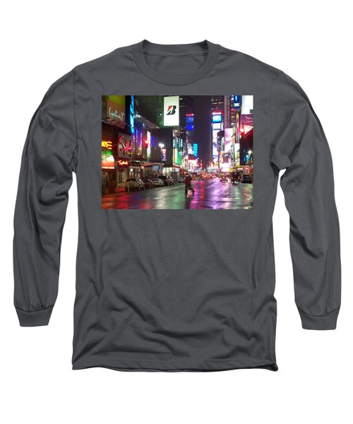 Times Square In The Rain 2 Long Sleeve T-Shirt