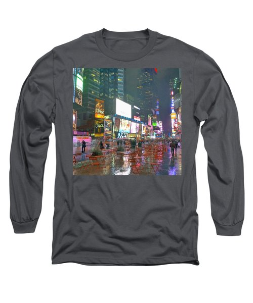 Times Square Red Rain Long Sleeve T-Shirt