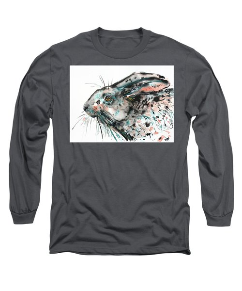 Long Sleeve T-Shirt featuring the painting Timid Hare by Zaira Dzhaubaeva