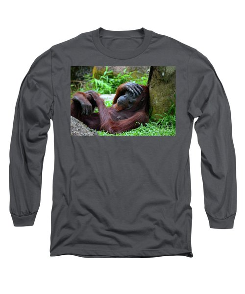 Tired Female Orangutan Ape Rests Against Tree With Hand On Her Head Long Sleeve T-Shirt