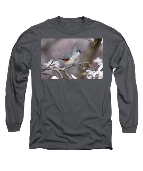 Long Sleeve T-Shirt featuring the photograph Titmouse Song - D010023 by Daniel Dempster