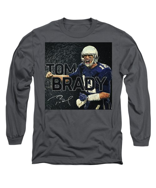 Tom Brady Long Sleeve T-Shirt by Taylan Apukovska