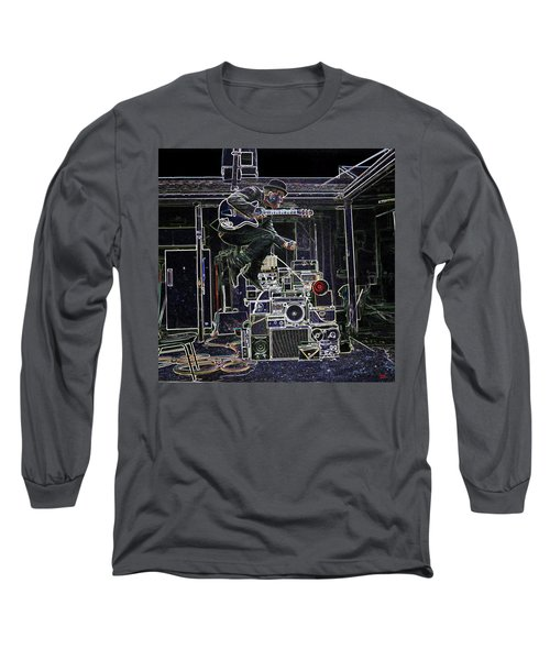 Long Sleeve T-Shirt featuring the mixed media Tom Waits Jamming by Charles Shoup