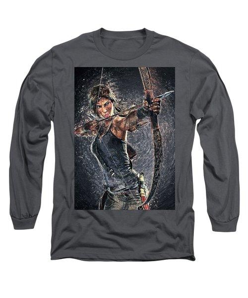 Long Sleeve T-Shirt featuring the digital art Tomb Raider by Taylan Apukovska