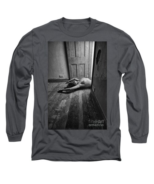 Topless Woman In Doorway Long Sleeve T-Shirt