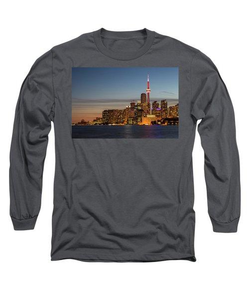 Long Sleeve T-Shirt featuring the photograph Toronto Skyline At Dusk by Adam Romanowicz