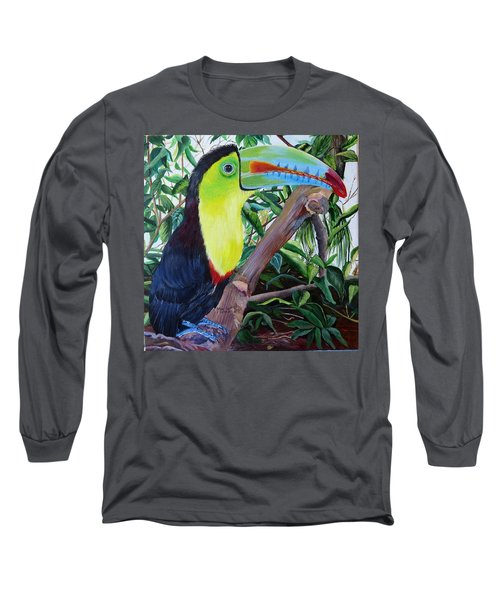 Toucan Portrait Long Sleeve T-Shirt by Marilyn McNish