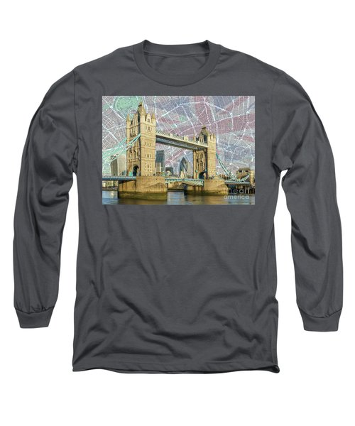 Long Sleeve T-Shirt featuring the digital art Tower Bridge With Union Jack by Adam Spencer