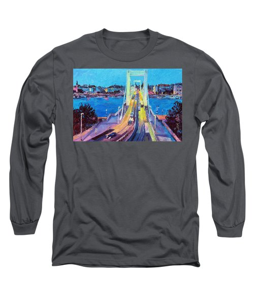 Traffic On Elisabeth Bridge At Dusk Long Sleeve T-Shirt