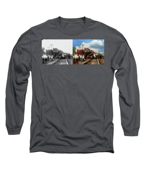 Long Sleeve T-Shirt featuring the photograph Train - Accident - Butting Heads 1922 - Side By Side by Mike Savad
