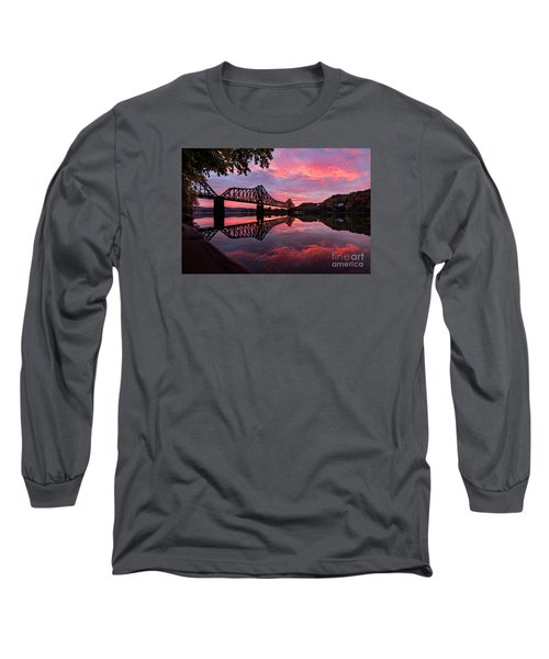 Train Bridge At Sunrise  Long Sleeve T-Shirt by Emmanuel Panagiotakis