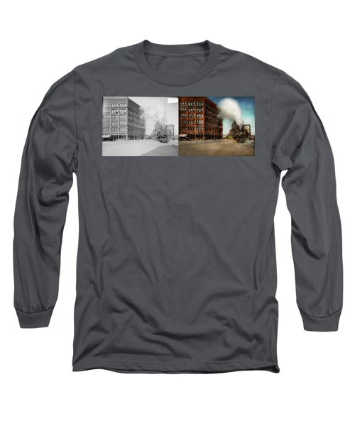 Long Sleeve T-Shirt featuring the photograph Train - Respect The Train 1905 - Side By Side by Mike Savad