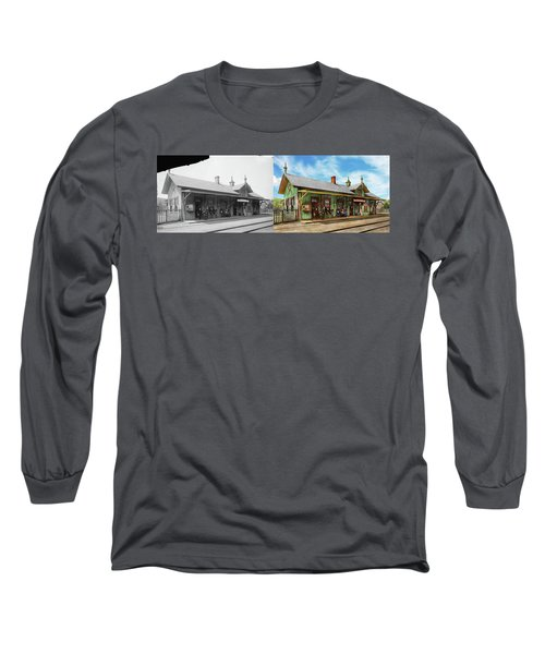 Long Sleeve T-Shirt featuring the photograph Train Station - Garrison Train Station 1880 - Side By Side by Mike Savad