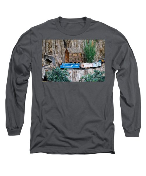 Long Sleeve T-Shirt featuring the painting Train Train Take Me Out Of This Town by Robert Pearson