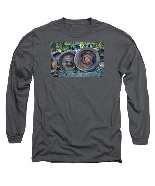 Long Sleeve T-Shirt featuring the photograph Train Wheels by Steve Siri