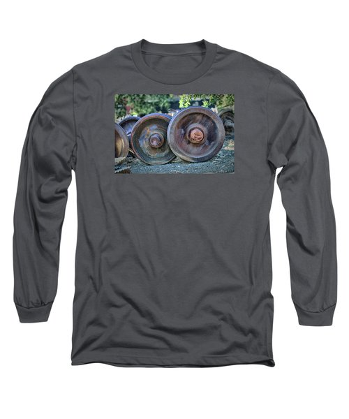 Long Sleeve T-Shirt featuring the photograph Train Wheels by Steve Siri