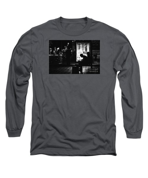 Long Sleeve T-Shirt featuring the photograph Tram Station Silhouettes by Jivko Nakev
