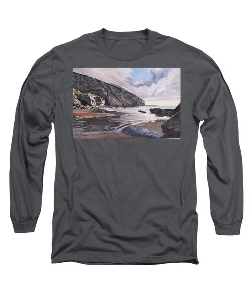 Long Sleeve T-Shirt featuring the painting Trebarwith Strand by Lawrence Dyer