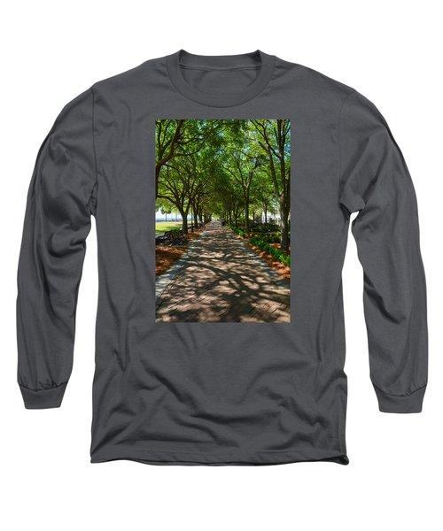 Tree Lined Path Long Sleeve T-Shirt by Debra Martz