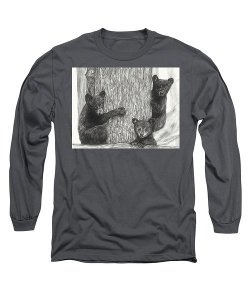 Long Sleeve T-Shirt featuring the drawing Tree Trio  by Meagan  Visser