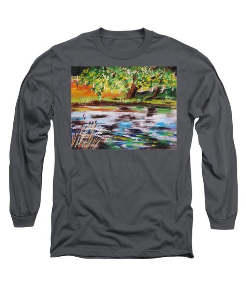 Trees Edge The Pond Long Sleeve T-Shirt by John Williams