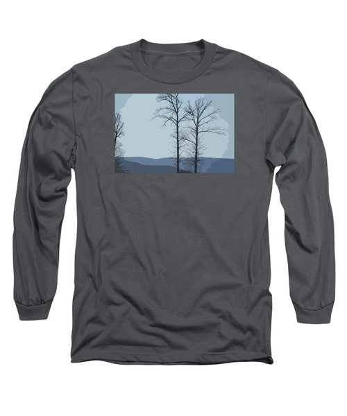 Long Sleeve T-Shirt featuring the photograph Trees On Blue by Donna G Smith