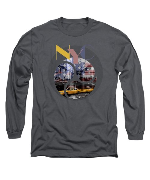 Trendy Design New York City Geometric Mix No 2 Long Sleeve T-Shirt by Melanie Viola
