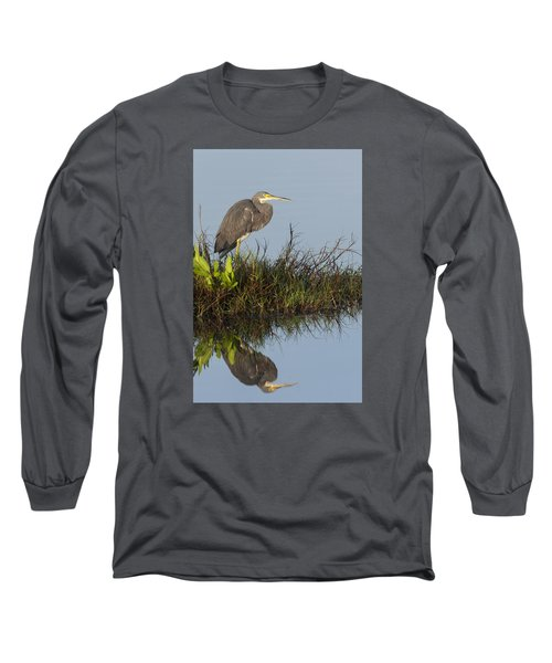 Tri-colored Heron And Reflection Long Sleeve T-Shirt